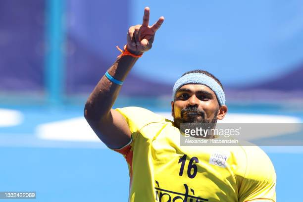 Sreejesh Parattu Raveendran of Team India reacts after winning the Men's Bronze medal match between Germany and India on day thirteen of the Tokyo...