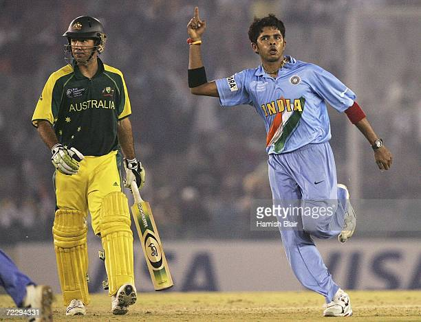 Sreekanth Sreesanth of India celebrates the wicket of Ricky Ponting of Australia during the ICC Champions Trophy match between India and Australia at...
