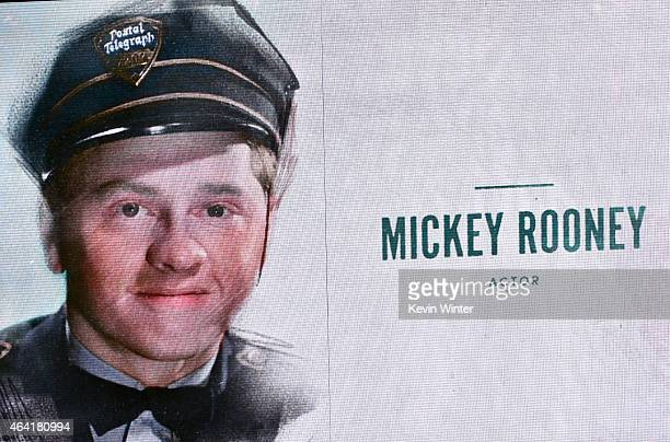 A sreen is seen displayed the name of Mickey Rooney during the 87th Annual Academy Awards at Dolby Theatre on February 22 2015 in Hollywood California