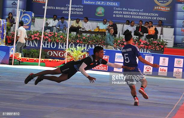 Sri Lanka and Nepal team players in action during the Asian KhoKho championship on April 9 2016 in Indore India Indore hosts the third Asian KhoKho...