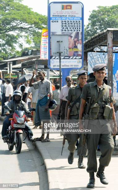 Sri Lanka army soldiers patrol a street in Colombo on December 23 2008 Sri Lanka's Tamil Tiger rebels claimed killing at least 100 government...