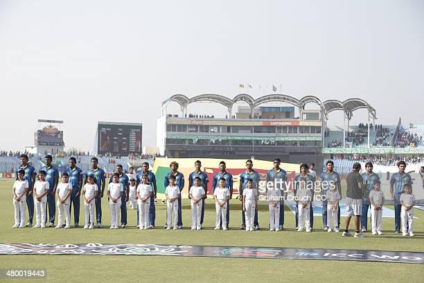 Sri Lanka at the national anthem ahead of the Sri Lanka v South Africa match at the ICC World Twenty20 Bangladesh 2014 played at Zahur Ahmed...