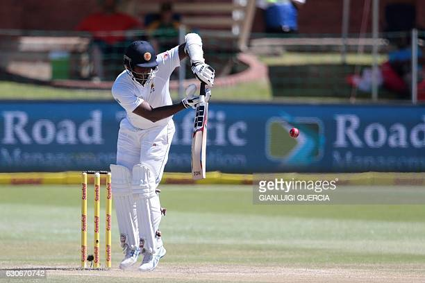 Sri Lanka batsman and Captain Angelo Mathews plays a shot during the fifth and last day of the first Test between South Africa and Sri Lanka on...
