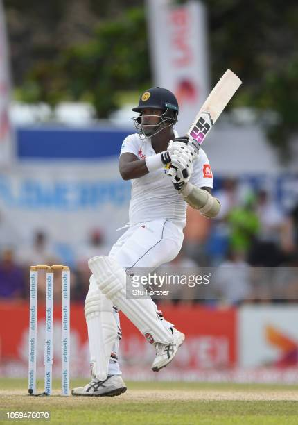 Sri Lanka batsman Angelo Matthews hits out during Day Four of the First Test match between Sri Lanka and England at Galle International Stadium on...
