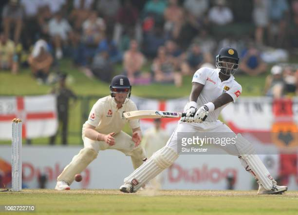 Sri Lanka batsman Angelo Matthews reverse sweeps during Day Four of the Second Test match between Sri Lanka and England at Pallekele Cricket Stadium...