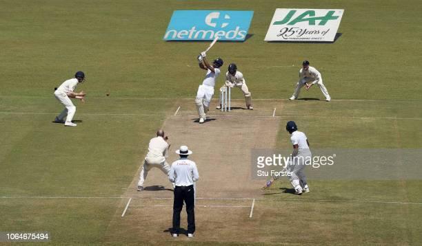Sri Lanka batsman Danushka Gunathilaka is caught by England fielder Keaton Jennings for 18 runs during Day two of the Third Test match between Sri...