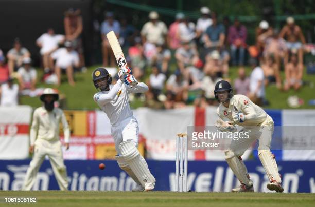 Sri Lanka batsman Dhananjay De Silva picks up some runs during Day Two of the Second Test match between Sri Lanka and England at Pallekele Cricket...
