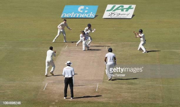 Sri Lanka batsman Dhananjaya de Silva reacts as England fielder Keaton Jennings takes a catch to dismiss the batsman on 73 runs during Day Two of the...