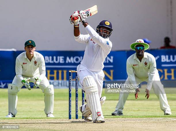 Sri Lanka batsman Dilruwan Perera hits the ball during the first match in a series of two cricket matches between Sri Lanka and hosts Zimbabwe at the...