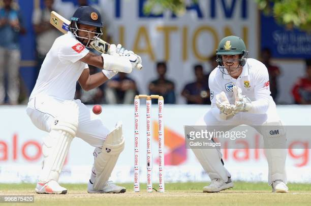 Sri Lanka batsman Dimuth Karunarathne watching the ball closely in his innings during day 1 of the 1st Test match between Sri Lanka and South Africa...