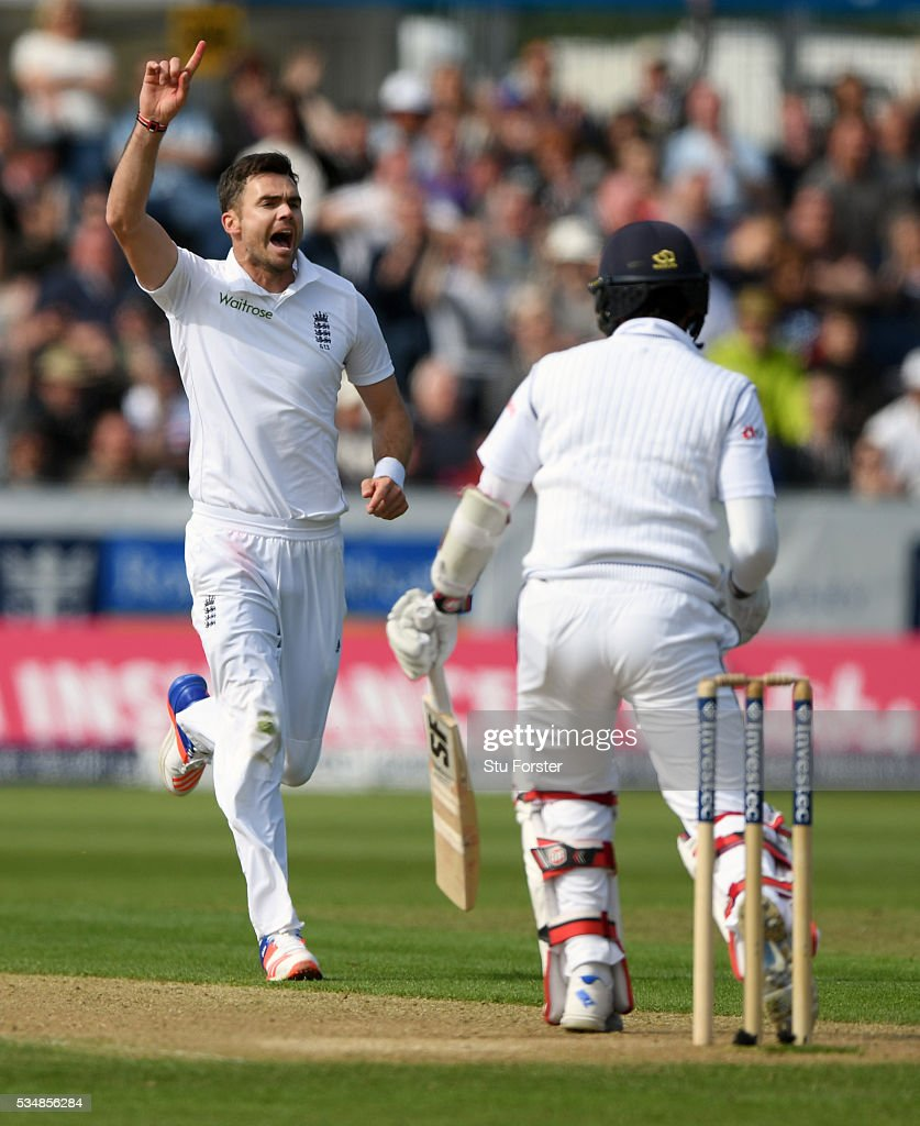 Sri Lanka batsman Dinesh Chandimal is dismissed by James Anderson of England during day two of the 2nd Investec Test match between England and Sri Lanka at Emirates Durham ICG on May 28, 2016 in Chester-le-Street, United Kingdom.