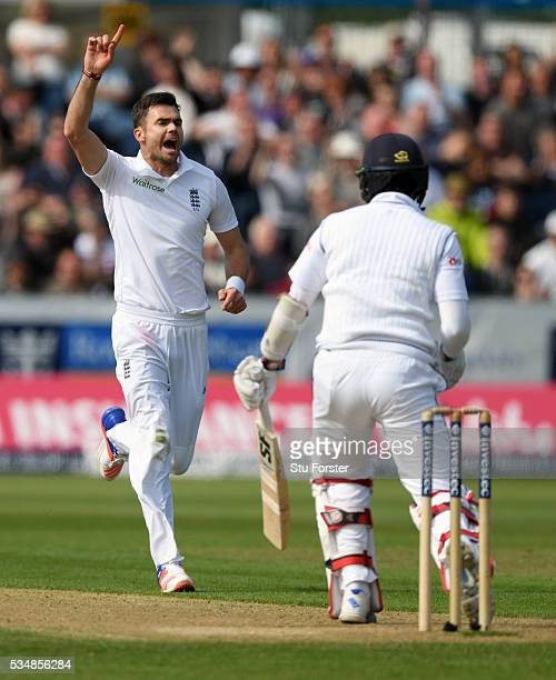 Sri Lanka batsman Dinesh Chandimal is dismissed by James Anderson of England during day two of the 2nd Investec Test match between England and Sri...