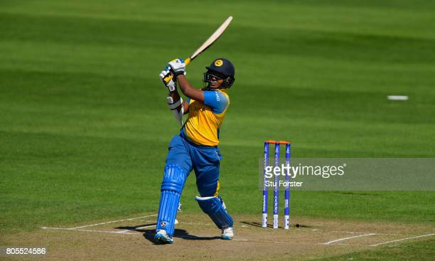Sri Lanka batsman Hasina Perera hits out during the ICC Women's World Cup 2017 match between England and Sri Lanka at The Cooper Associates County...