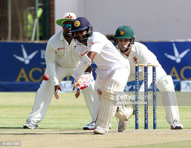 Sri Lanka batsman Kaushal Silva hits the ball during the first match in a series of two cricket matches between Sri Lanka and hosts Zimbabwe at the...