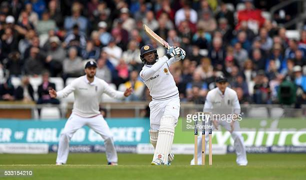 Sri Lanka batsman Kusal Mendis hits out during day three of the 1st Investec Test match between England and Sri Lanka at Headingley on May 21 2016 in...