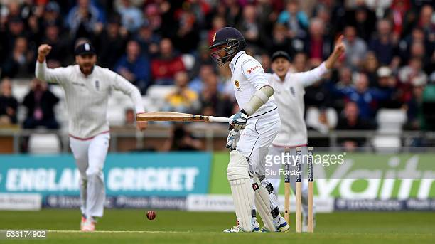 Sri Lanka batsman Kusal Mendis reacts after being bowled by James Anderson during day three of the 1st Investec Test match between England and Sri...