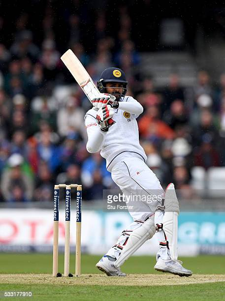 Sri Lanka batsman Lahiru Thirimanne hits out during day three of the 1st Investec Test match between England and Sri Lanka at Headingley on May 21...