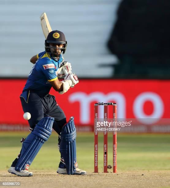 Sri Lanka batsman Niroshan Dickwella bats during the second One Day International cricket match between South Africa and Sri Lanka at Kingsmead...