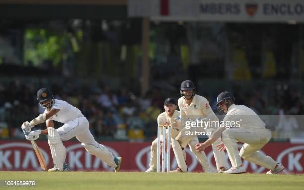 Sri Lanka batsman Roshen Silva reacts as England fielder Keaton Jennings takes a catch to dismiss the batsman off the bowling of Adil Rashid during...