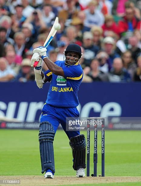 Sri Lanka batsman Sanath Jayasuriya in action during the NatWest International Twenty20 Match between England and Sri Lanka at The County Ground at...