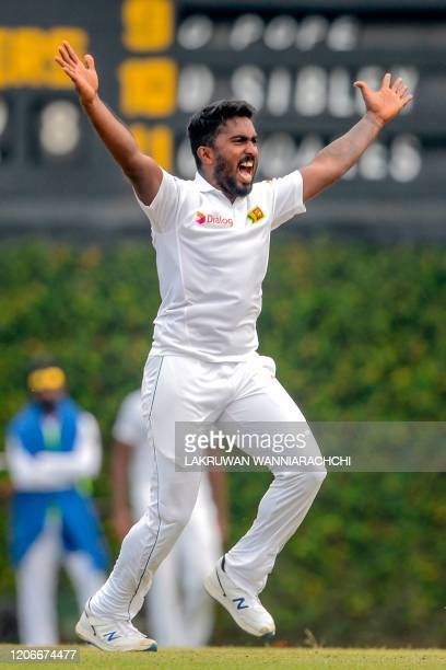 Sri Lanka Board President's XI Avishka Fernando unsuccessfully appeals for a Leg Before Wicket decision against England's Dom Sibley during the...