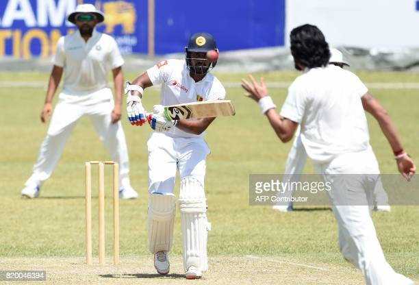 Sri Lanka Board President's XI cricketer Danushka Gunathilaka plays a shot during the first day of the twoday warmup match between Sri Lanka Board...