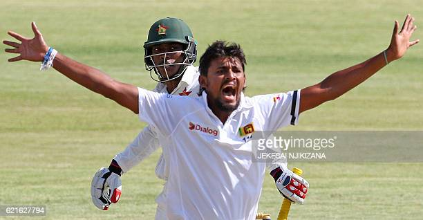 Sri Lanka bowler Lahiru Kumara appeals for the wicket of Brian Chari during the second day of the second cricket Test match between Sri Lanka and...