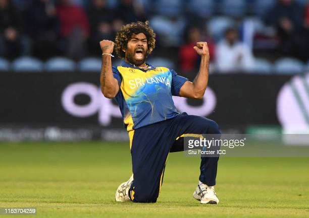 Sri Lanka bowler Lasith Malinga celebrates after taking the final wicket during the Group Stage match of the ICC Cricket World Cup 2019 between...