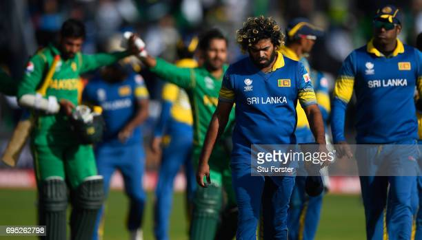 Sri Lanka bowler Lasith Malinga reacts as he leaves the field after the ICC Champions League match between Sri Lanka and Pakistan at SWALEC Stadium...