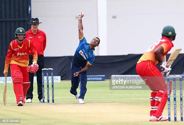 TOPSHOT Sri Lanka bowler Nuwan Kulasekara is in action during the opening match of an ODI series Sri Lanka vs Zimbabwe in Harare on November 14 2016...