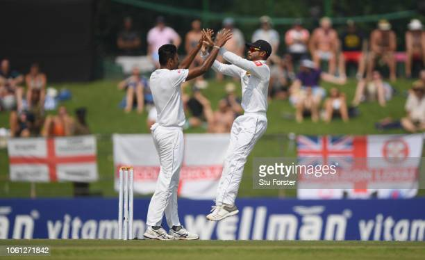 Sri Lanka bowler Suranga Lakmal celebrates after dismissing Keaton Jennings during Day One of the Second Test match between Sri Lanka and England at...
