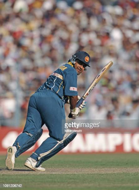 Sri Lanka captain and batsman Arjuna Ranatunga picks up some runs during his innings of 35 runs during the 1996 ICC Cricket World Cup semi final...