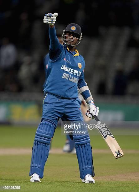 Sri Lanka captain Angelo Mathews celebrates winning the Royal London One Day International match between England and Sri Lanka at Edgbaston on June...