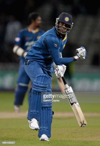 Sri Lanka captain Angelo Mathews celebrates winning the Royal London One Day International match between England and Sri Lanka at Edgbaston on June 3...