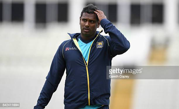Sri Lanka captain Angelo Mathews during a nets session at Edgbaston on June 23 2016 in Birmingham England