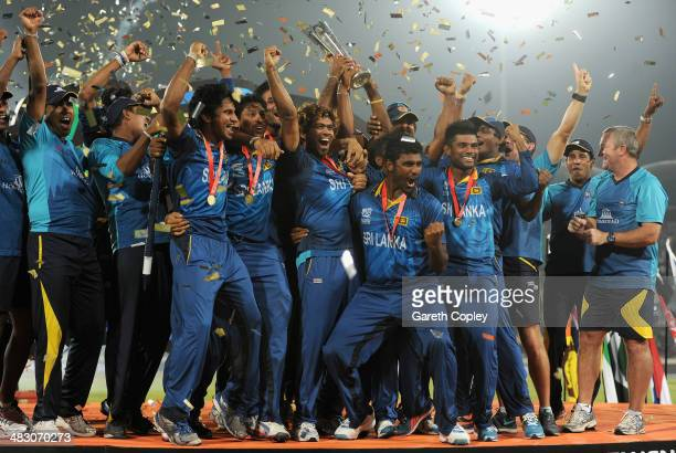 Sri Lanka captain Lasith Malinga lifts the trophy after winning the ICC World Twenty20 Bangladesh 2014 Final between India and Sri Lanka at...