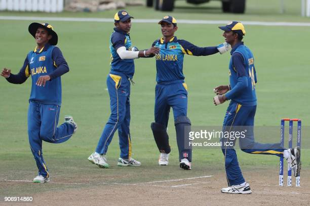 Sri Lanka celebrate a wicket during the ICC U19 Cricket World Cup match between Sri Lanka and Pakistan at Cobham Oval on January 19 2018 in Whangarei...