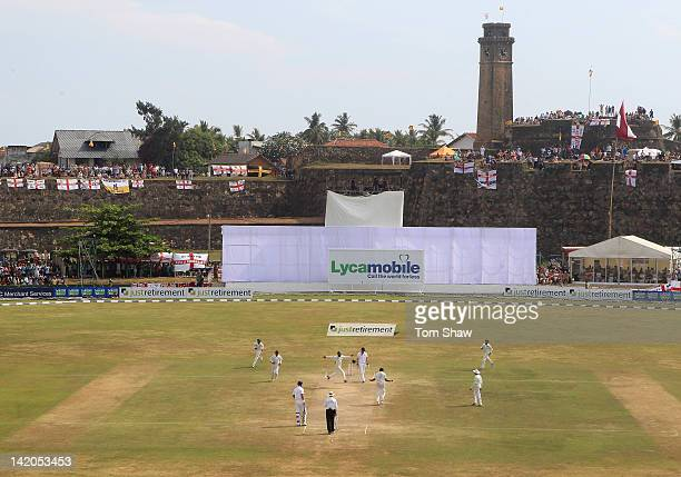 Sri Lanka celebrate taking the wicket of James Anderson of England during day 4 of the 1st test match between Sri Lanka and England at Galle...
