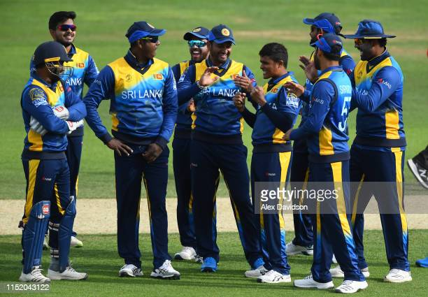 Sri Lanka celebrate the wicket of Usman Khawaja of Australia during the ICC Cricket World Cup 2019 Warm Up match between Australia and Sri Lanka at...