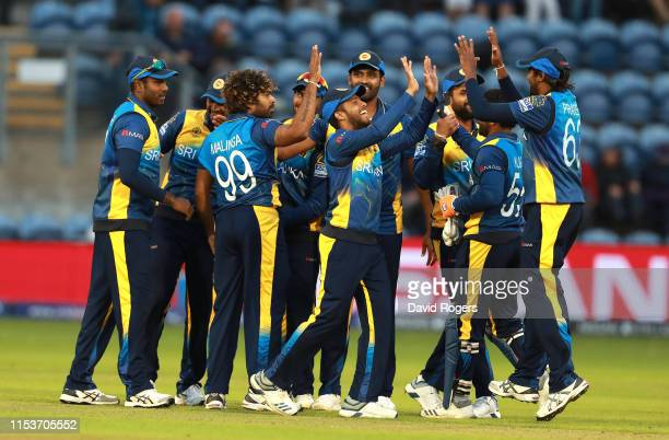 Sri Lanka celebrate their victory during the Group Stage match of the ICC Cricket World Cup 2019 between Afghanistan and Sri Lanka at Cardiff Wales...