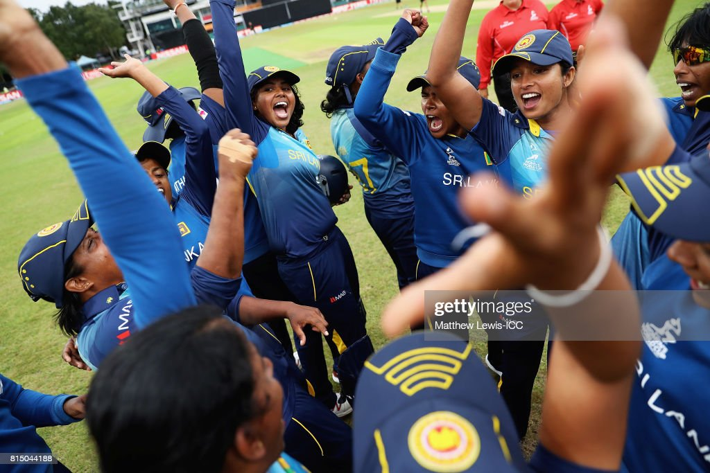 Sri Lanka celebrate their win over Pakistan during the ICC Women's World Cup 2017 match between Pakistan and Sri Lanka at Grace Road on July 15, 2017 in Leicester, England.