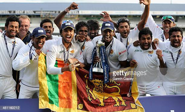 Sri Lanka celebrate winning the 2nd Investec Test match between England and Sri Lanka at Headingley Cricket Ground on June 24 2014 in Leeds England