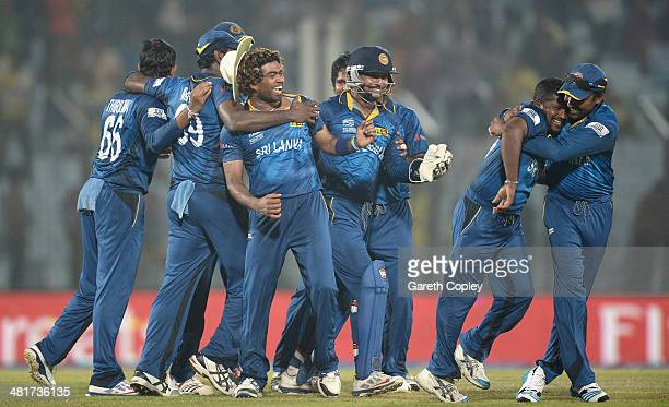 Sri Lanka celebrate winning the ICC World Twenty20 Bangladesh 2014 Group 1 match between Sri Lanka and New Zealand at Zahur Ahmed Chowdhury Stadium...