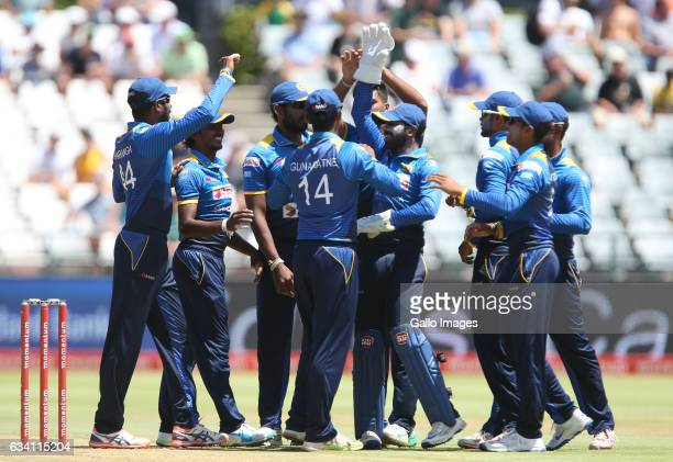 Sri Lanka celebrates a wicket during the 4th ODI between South Africa and Sri Lanka at PPC Newlands on February 07 2017 in Cape Town South Africa