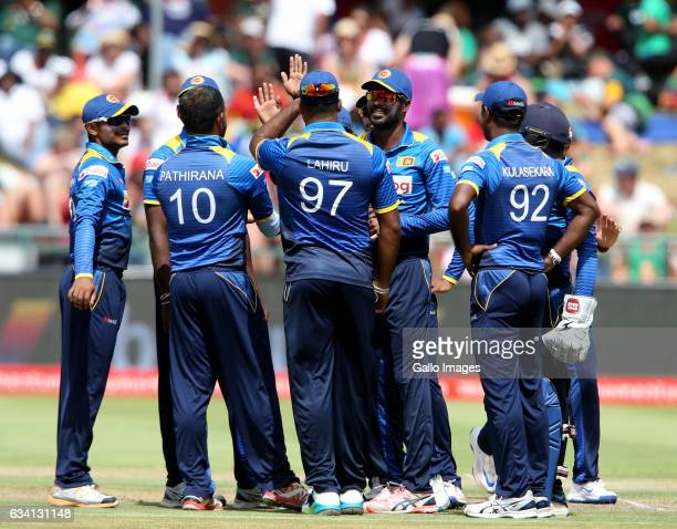 Sri Lanka celebrates during the 4th ODI between South Africa and Sri Lanka at PPC Newlands on February 07 2017 in Cape Town South Africa