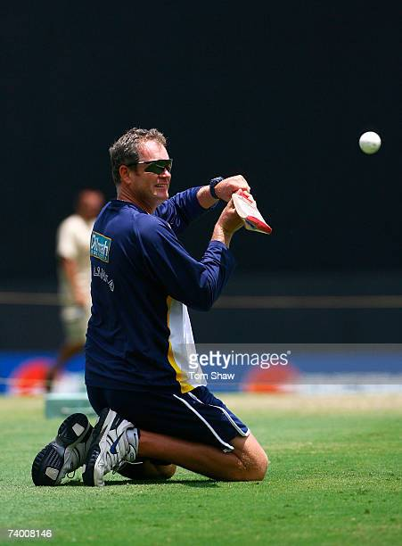 Sri Lanka coach Tom Moody hits the ball during a Sri Lanka team training session at the Kensington Oval on April 27 2007 in Bridgetown Barbados
