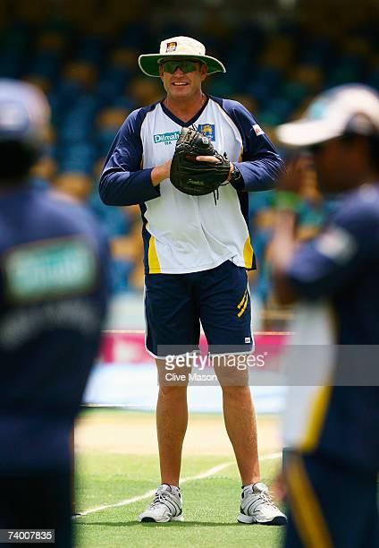 Sri Lanka coach Tom Moody looks on during a Sri Lanka team training session at the Kensington Oval on April 27 2007 in Bridgetown Barbados