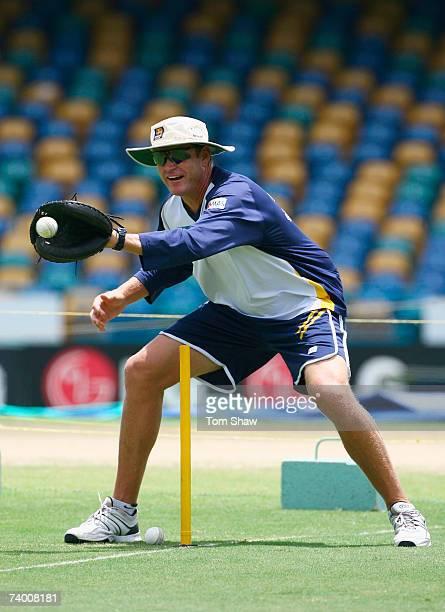 Sri Lanka coach Tom Moody takes a catch during a Sri Lanka team training session at the Kensington Oval on April 27 2007 in Bridgetown Barbados