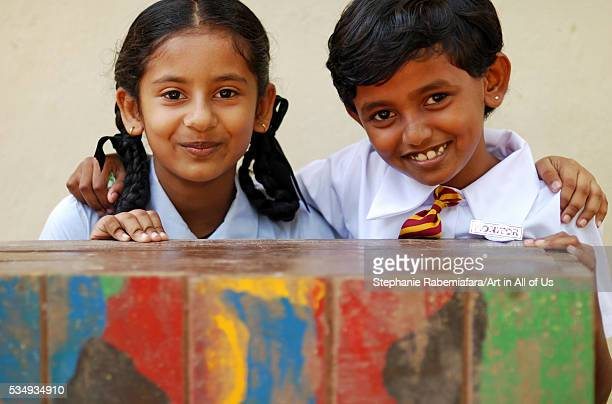 Sri Lanka Colombo portrait of 2 smiling schoolgirls