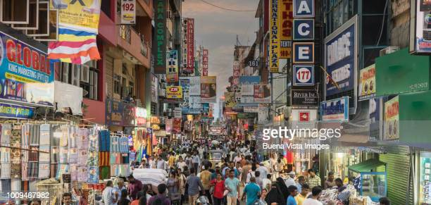 sri lanka, congested street in old colombo. - capital cities stock photos and pictures